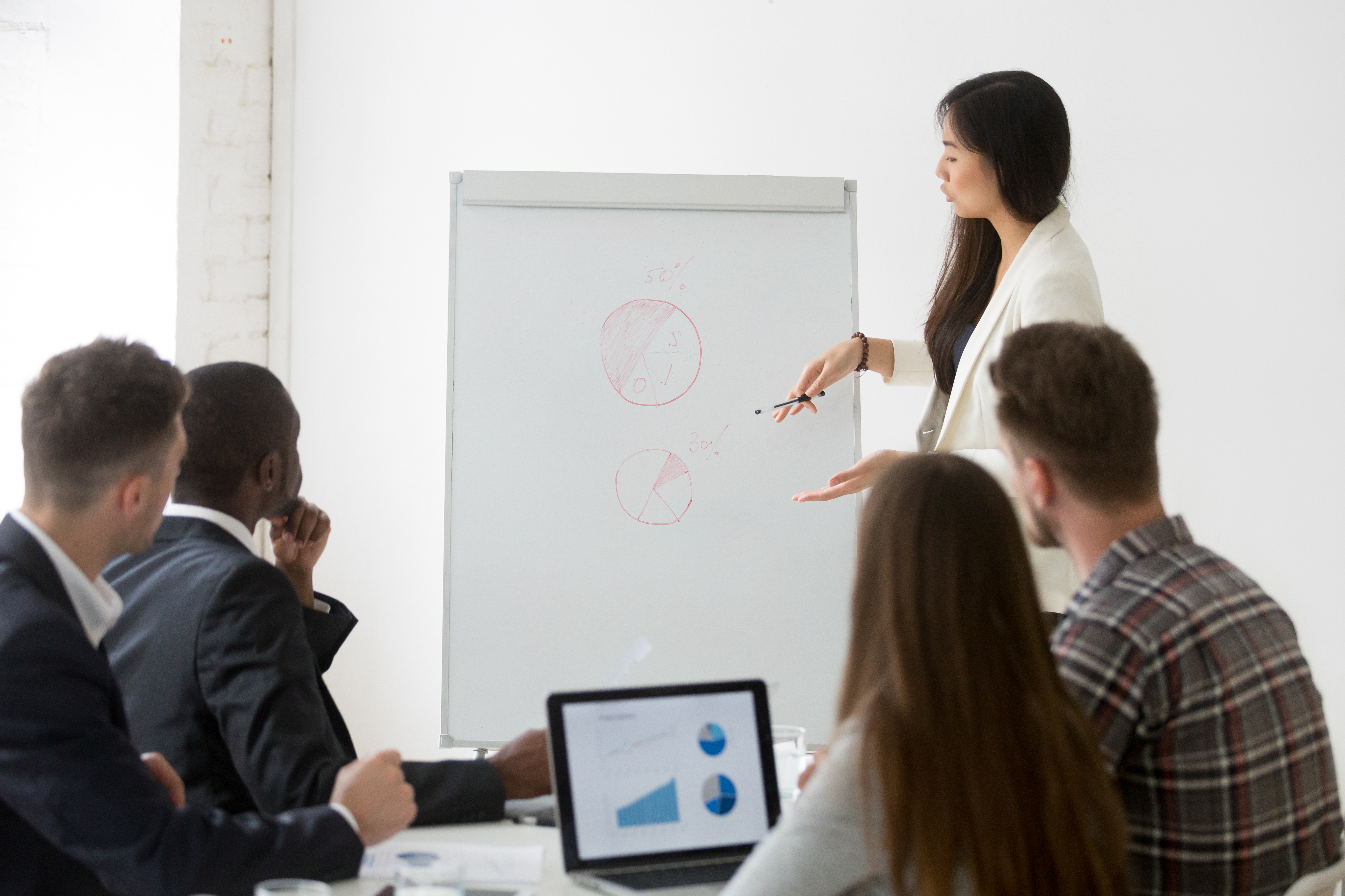 Businesswoman giving presentation of marketing research results