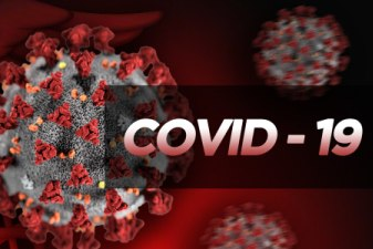 COVID-19 graphic with red background