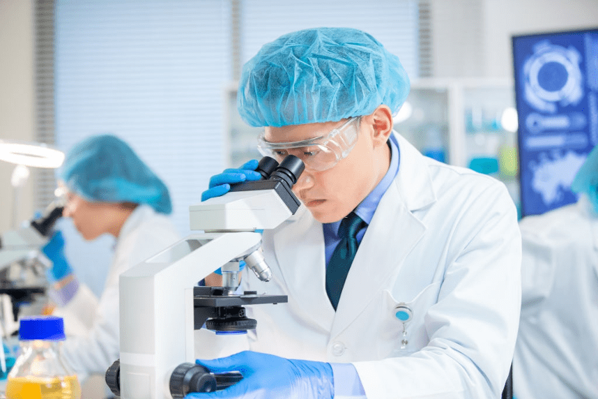 a male working in lab