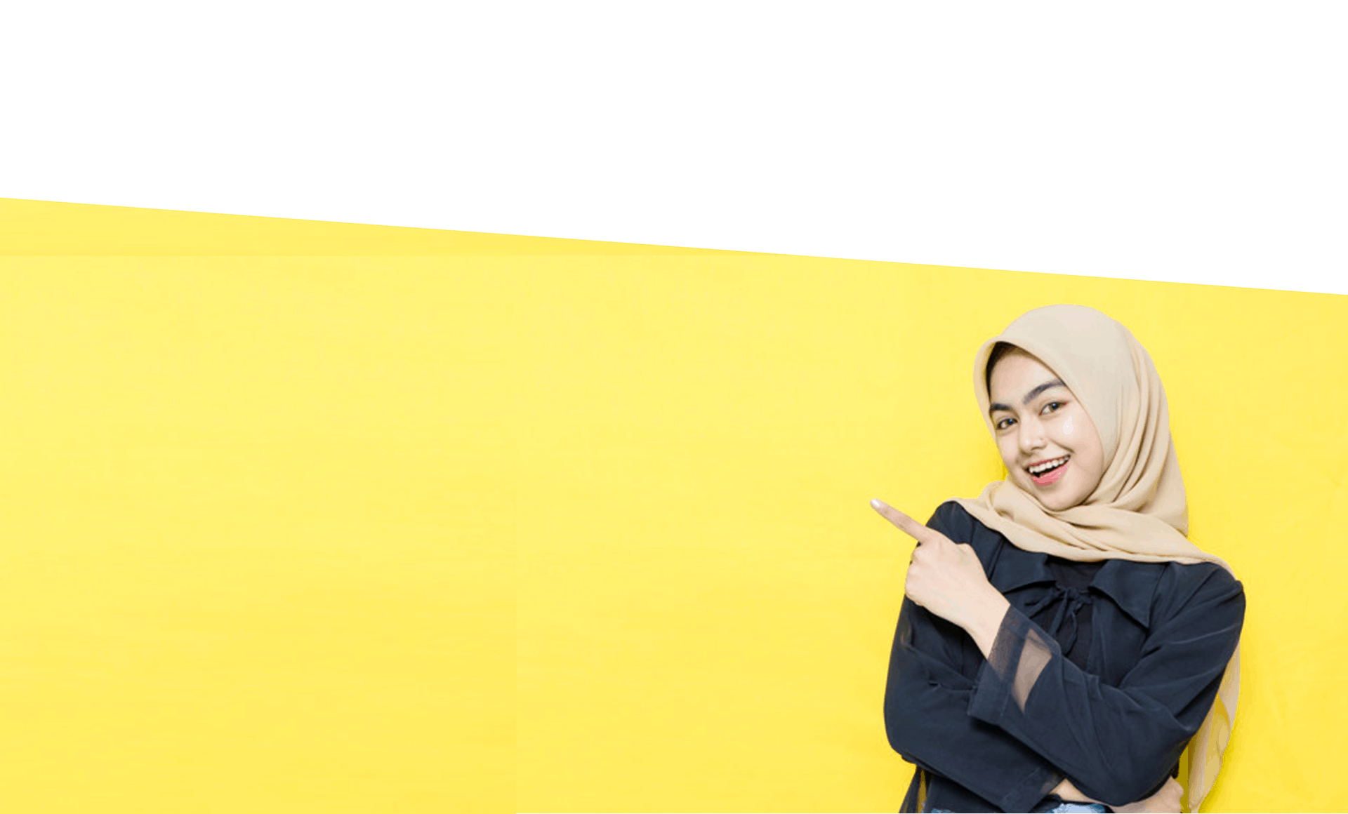 a Muslim Malay girl with white and yellow blank background